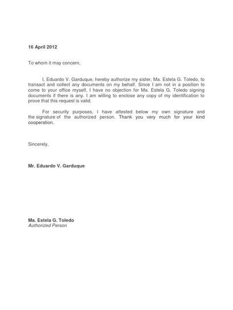 Endorsement Letter To Dfa Authorization Letter