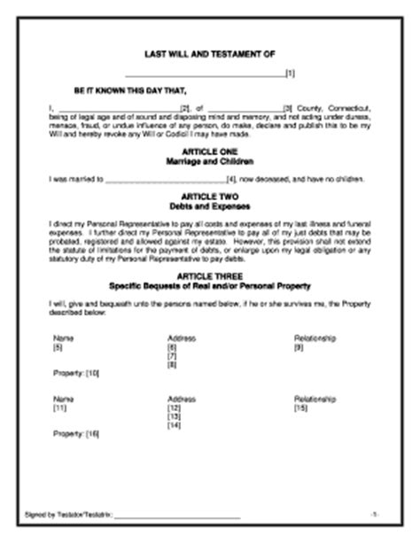 Bill Of Sale Form Connecticut Last Will And Testament Sle Templates Fillable Printable Last Will And Testament Template Canada