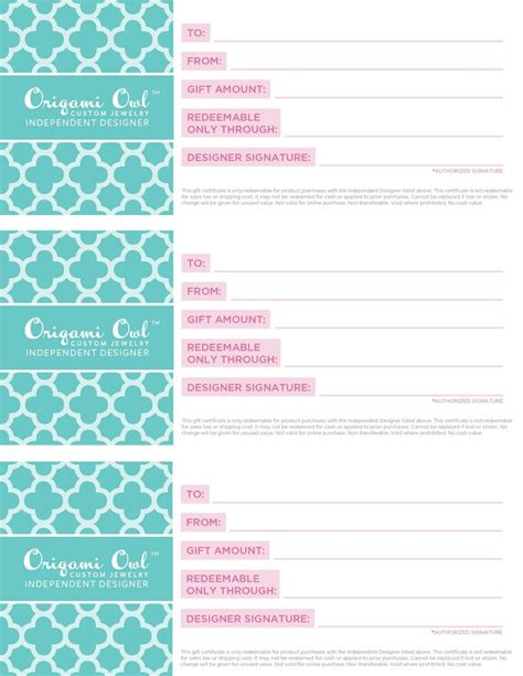 Origami Owl Pdf - 17 best ideas about gift certificate templates on