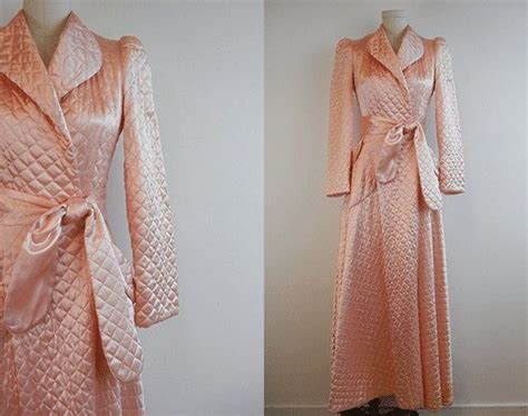 Quilted Satin Robe by Vintage Quilted Satin Robe 1940s Bias Cut Blush