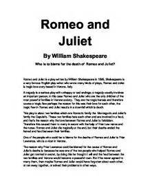 theme of death in romeo and juliet essay friar laurence responsible for romeo and juliet s death