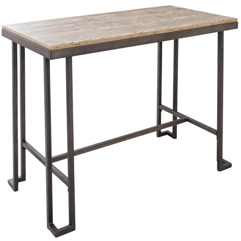 industrial counter height table lumisource industrial counter table with wooden top