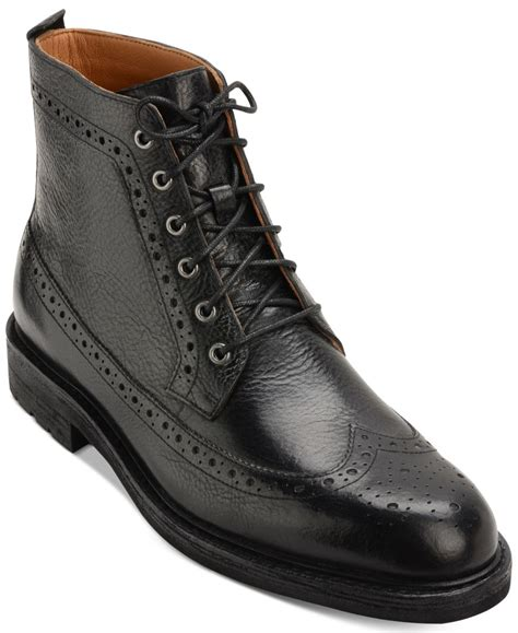 mens boots polo polo ralph s nickson wingtip boots in black for