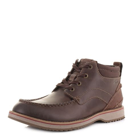 clarks boots for mens mens clarks mahale mid brown chukka leather casual