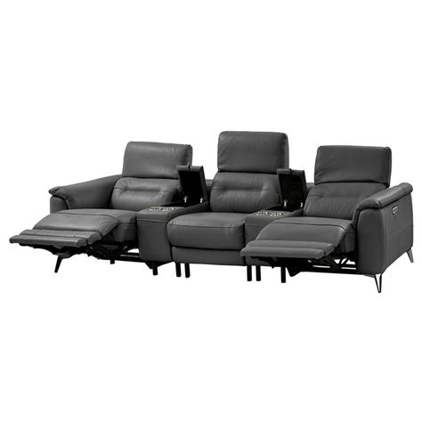 anabel gray home theater leather seating el dorado furniture