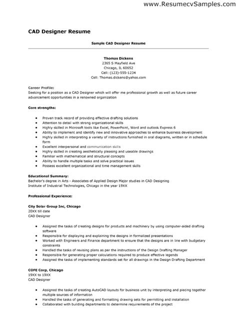 Sle Resume For Architectural Drafting Autocad Design Resume Sales Designer Lewesmr