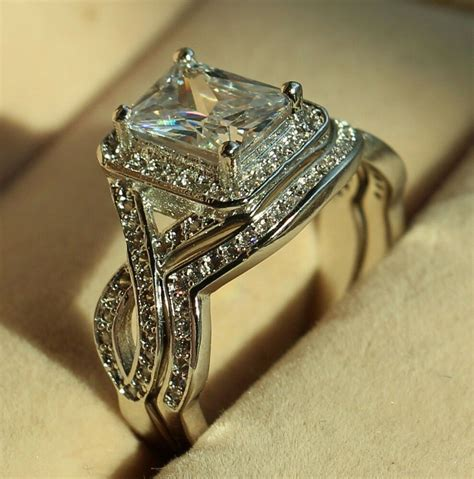 princess cut diamonique cz white gold filled engagement wedding ring set sz 5 11 ebay