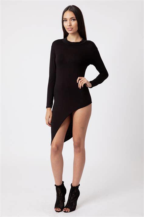 Asymmetric Bodycon Dress dara black asymmetric sleeve bodycon dress modamore
