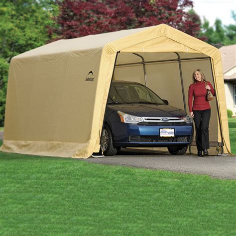 replacement awnings for cers shelterlogic autoshelter 1015 portable garage with tan