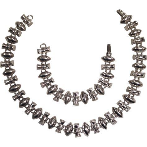 Sterling Silver Necklace Bracelet vintage deco sterling silver necklace bracelet set