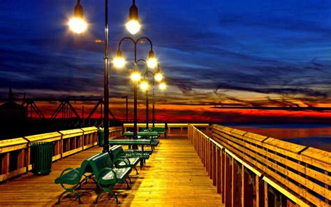 hd colorful romantic pier  sundown wallpaper