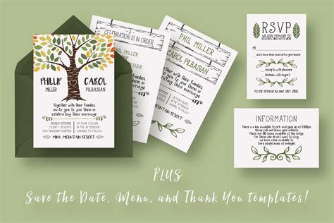 rustic tree card template rustic tree wedding suite invitation templates on