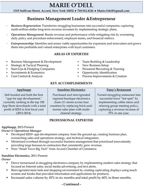 Business Resume Sles Business Owners Professionally Written Resume Sles Rwd