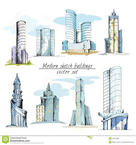 design elements building modern sketch buildings colored stock vector image 40974605