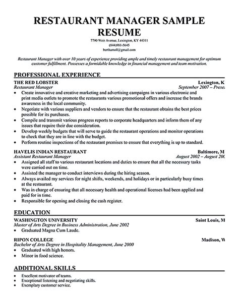 Resume Sle For Assistant Restaurant Manager Restaurant Manager Resume Sle Restaurant Supervisor Description Resume 20 Images Sle Resume