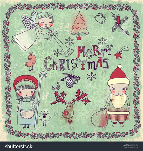 doodle santa set of and new years doodles and drawings