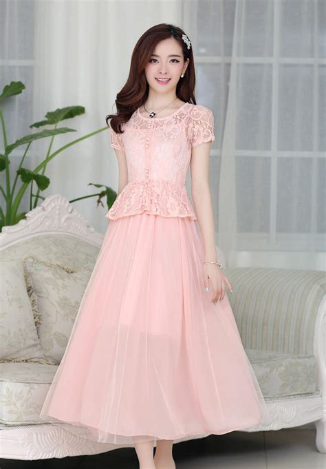 Kp 15 3 Pink Brokat Dress dress pesta brokat cantik