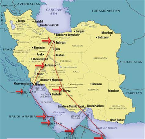 map of uae and iran arabian gulf tour