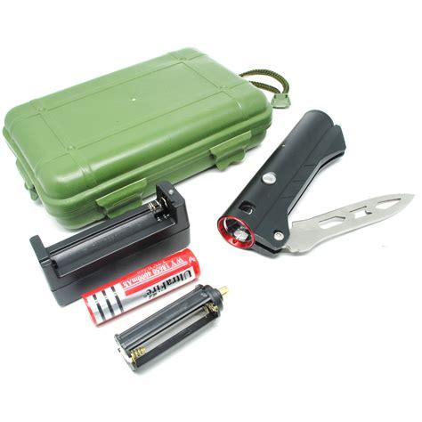 pisau lipat multifungsi pisau lipat multifungsi 2 in 1 dengan senter led black