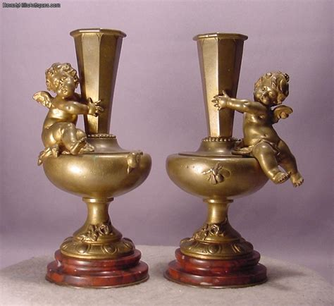 Cherub Antique by Pair Antique Cherub Bronze Marble Vases Aug Moreau For