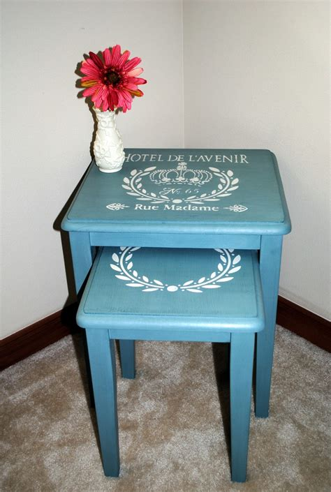 chalk paint nest of tables stenciled nesting tables refinished in cece caldwell