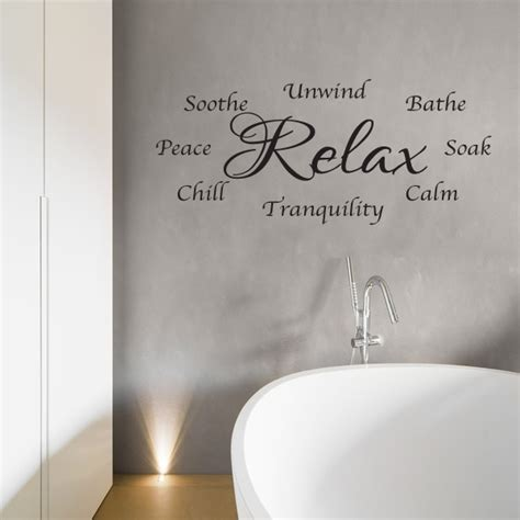 bathroom wall stickers bathroom wall sticker relax and unwind wall words