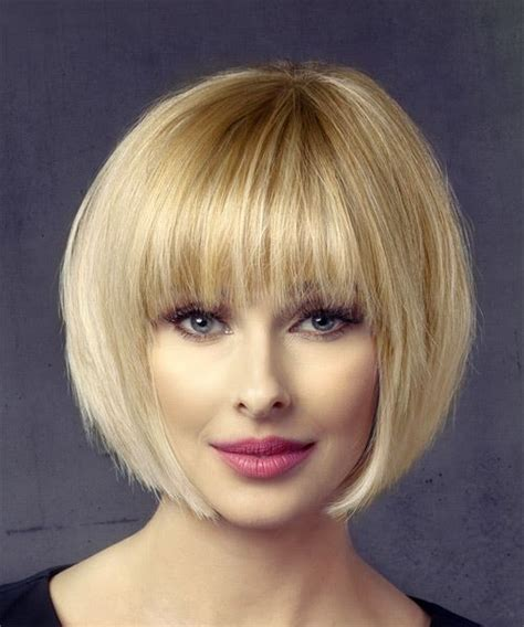 Short Straight Formal Bob Hairstyle with Layered Bangs   Light Blonde (Honey)