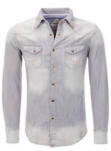 key largo herren jeanshemd monte langarm grau
