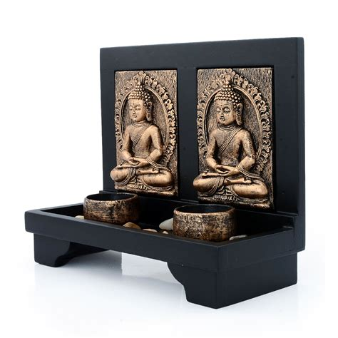 home decor candle holders and accessories golden buddha with led candle 8x7x3 5 in hd candle
