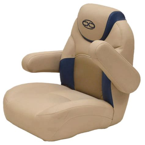 reclining captains chairs south bay pontoon beige blue marine reclining captains