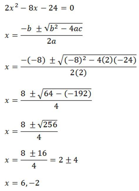 quadratic formula example problems answers
