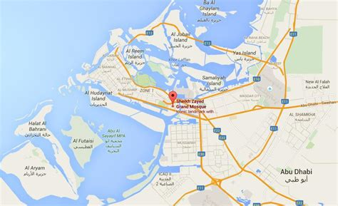 abu dhabi location map where is sheikh zayed mosque on map abu dhabi