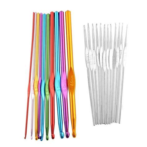 tunisian knitting needles multicolor 1set 22pcs afghan tunisian aluminum metal