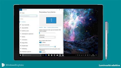 illuminazione schermo pc come attivare la luminosit 224 automatica in windows 10