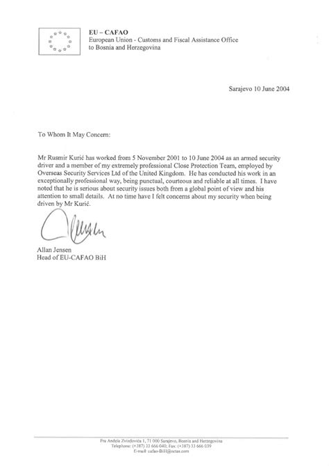 Letter Of Recommendation Ending recommendation letter eu cafao protection officer