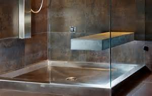 beautiful stainless steel and copper shower pans from