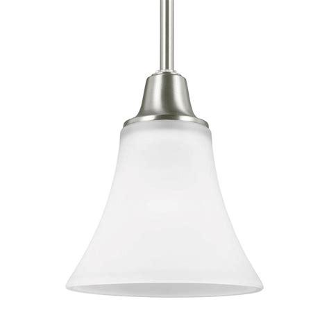 Brushed Nickel Mini Pendant Lights Sea Gull Lighting Metcalf 1 Light Brushed Nickel Mini