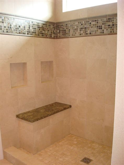master bathroom tile designs master bathroom ideas travertine tile on walls with dual shoo niches deco band of mosaic