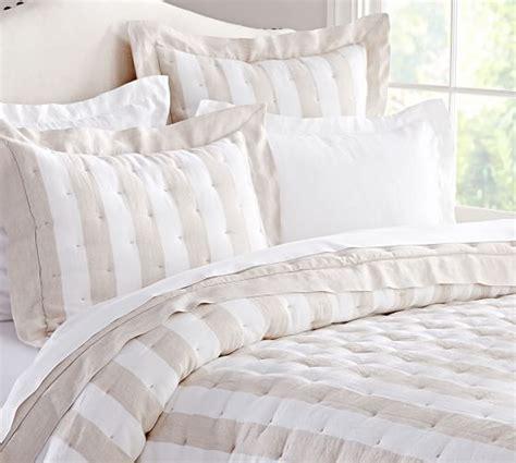 linen bedding sale striped linen quilt sham pottery barn