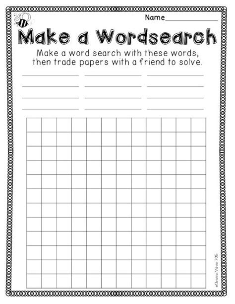 make your own word search template make your own spelling worksheets for kindergarten