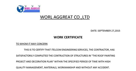 Work Experience Letter Contractor Jop Tips 工作技巧 작업 팁 Simple Letter Work Experience Certificate Format Of Work Experience