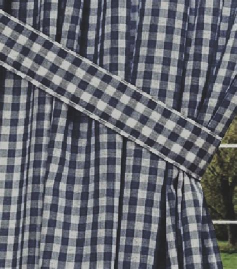 navy blue gingham check window long curtain available in