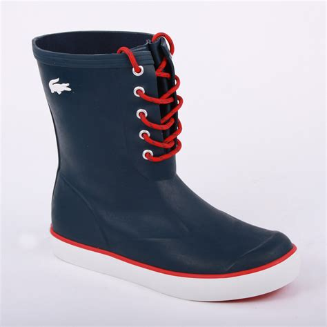 lacoste poerio womens laced rubber wellington boots shoes
