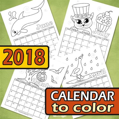 printable calendar 2018 to color printable calendar for kids 2018 itsy bitsy fun