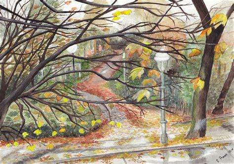 Herbstmotive Fenster by Bild Regen Herbst Landschaft Aquarellmalerei