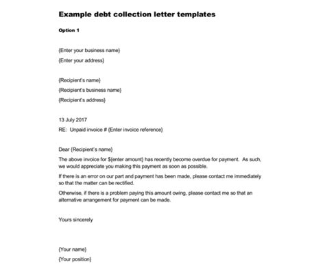 Loan Recovery Letter Format Debt Letter Template Letters Font