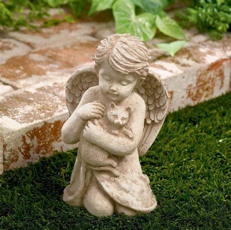 outdoor statue cherub with cat garden sculpture statues home decor art 7 inch ebay