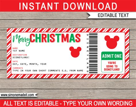 christmas surprise trip to disneyland ticket mickey