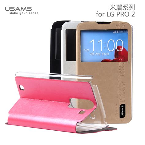 usams lg optimus g pro 2 f350 flip stand cover luxury leather merry series