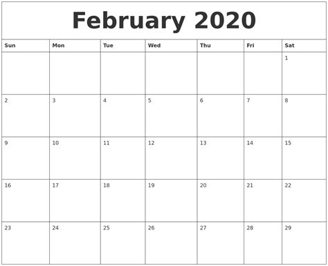 printable monthly calendar with pictures february 2020 monthly printable calendar